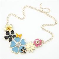 Epoxy shining delicate multicolor flowers short necklace