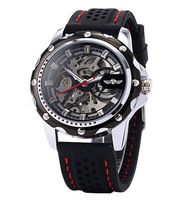 2013 New Products Fashion Winner Rubber Skeleton Automatic Mechanical Mens Watch Free Shipping