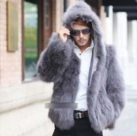 New 2013 Fashion Fox Fur Coats Men Short Jackets Fur Coats winter Fur Jackets Leather Clothing ems free shipping