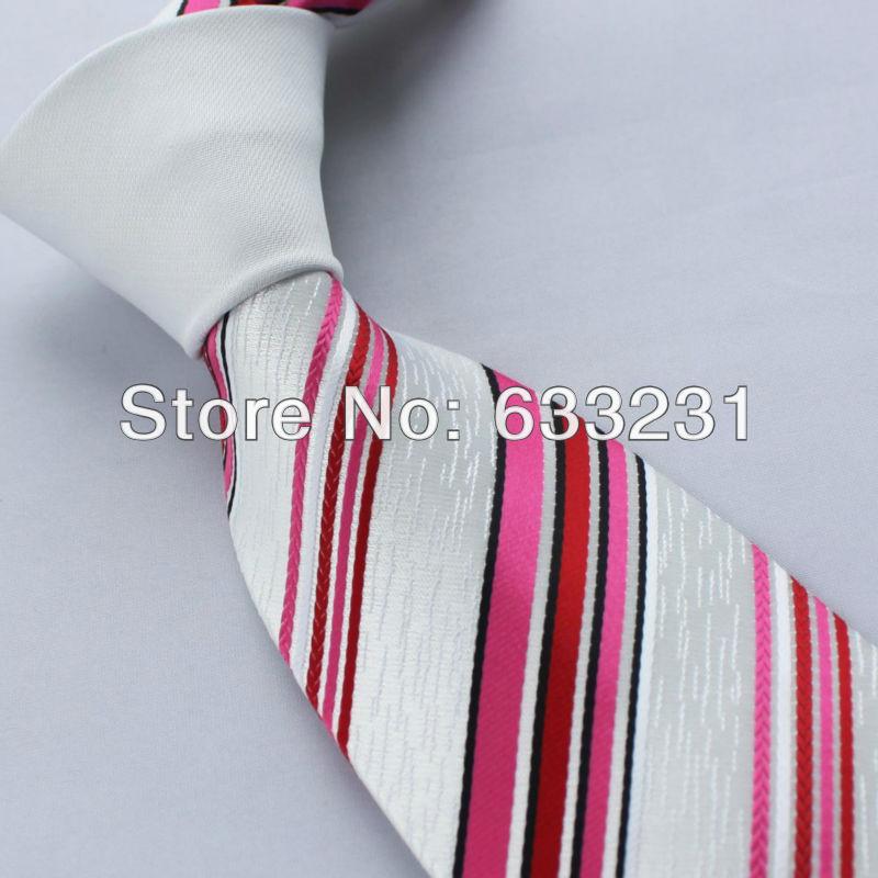 Black Shirt Pink Tie Pink Red Black Stripes Tie