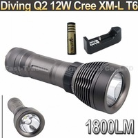 Professional Diving 1800 Lumen 12W Cree XM-L T6 LED 100m Diving   Flashlight Torch Light+2*4000mAh Battery+Charger~