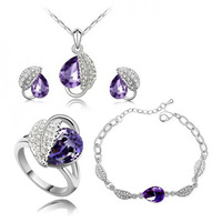 VOGUE  SILVER  PLATED FOUR   PIECES JEWELRY SET  ,BRACELET  +   EAR  STUD +RING  +  NECKLACE -B22A09E54C20