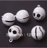 Free shipping!50Pcs White Skulll Brass Bell Charm 18mm