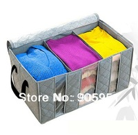 Free  Shipping  Bamboo clothing-through three grid storage box finishing box storage box 65L