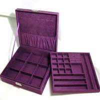 Jewelry box princess wool flannelet jewelry box double layer lock accessories fashion storage