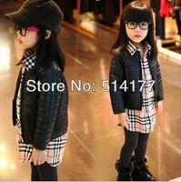 Free Shipping-Wholesale 2013 fashion cotton Plaid leather coat girl pu jacket kids wear