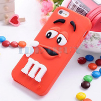 New 3D Soft Cute Silicone Rainbow bean smile Cover skin Case for Apple iPhone 4 4G 4S 1pc Free Ship