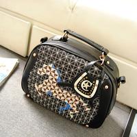 2013 bag personalized plaid sweet color block rivet vintage messenger bag shoulder bag handbag women's