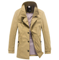Free shipping hot sale men's double-breasted woolen winter long Slim fit trench coat, 3 colors, size M L XL XXL AYJ888
