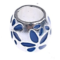 Free shipping!!!Zinc Alloy European Beads,Exquisite, Drum, without troll & enamel, blue, nickel, lead & cadmium free