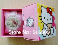2pcs Fashion Plastic Quartz Wristwatches New Style Hello Kitty watch with box Kids Cartoon Watch with box Transparent pink