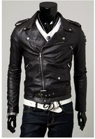 2014 men's fashion slim Diagonal zipper leather jacket free shipping
