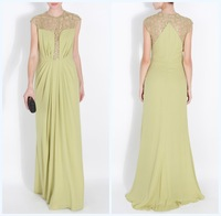 Free Shipping Long Prom Dresses Superb Women's Scoop Pleat Elie Saab Cap Sleeve Evening Dress With Sequins 8197