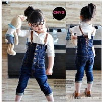 Retail 1 pcs 2013 children's spring and autumn suspenders jeans for the girls 2013 fashion high quality CCC014