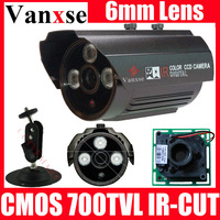 Vanxse CCTV CMOS 700TVL HD Security camera 3 Array LED IR-CUt waterproof Surveillance camera W/Bracket 6mm lens CCD camera
