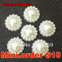 Mini.Order $10, 60pcs Craft Flatback Pearl ABS  13mm Flower Half Pearl Embellishment wedding Ivory Color