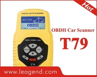 Highend Professional  multi car diagnostic scan tool/ OBD2/EOBD portable auto scanner T79 in yellow ,data print out,6 languages