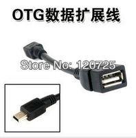 Free shipping 5PCS Mini OTG Cable - USB A Female to Mini USB 5 Pin Male Adapter Converter