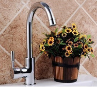 Free Shipping Hot Sale Brass Chrome Single Handle Single Hole Modern Kitchen Sinks Water Tap Hot & Cold Faucet Mixer