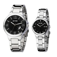 Free Shipping wholesale price zinc alloy dial & steel bracelet black color Couple Watch Bracelets for women and for men