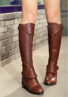 CooLcept Free shipping over knee natrual real genuine leather high heel boots women snow warm boot shoes R1842 EUR size 34-40