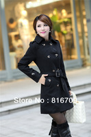 2014 New Women Lady Warm Long Coat Black and Light Tan Color  Double-breasted Coat  Turn-down Collar Autumn Winter Over Coat