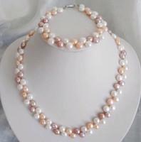 7-8mm White/Pink/Purple Akoya Cultured Pearl Necklace Bracelet Set
