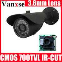 Vanxse CCTV CMOS 700TVL IR-CUT waterproof Bullet Security Camera 24IR D/N CCD Surveillance Camera+ Wall Bracket