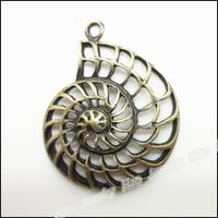 36pcs Vintage Charms Shell Pendant Antique bronze Zinc Alloy Fit Bracelet Necklace DIY Metal Jewelry Findings