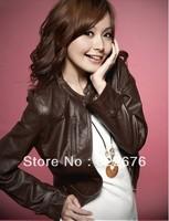 2013 Women's Cool Street Wear Punk Pattern Fashion Zip Decorated Leather PU Jacket Coat  Black /CoffeeBY11042301-1/BY11042301