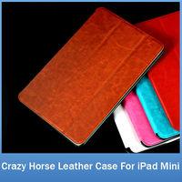 Luxury England Retro Crazy Horse PU Leather Skin Cover Thin Slim Hard Back Folding Stander Case For iPad Mini FREE SHIPPING