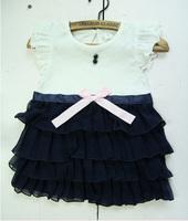 2013 New Arrive Baby Girls Summer Dress Kids Flutter Sleeve Bow Sash Layered Chiffon Dress Children Novelty Angel Dress