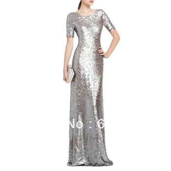 Wholesale - 2013 Silver Sequins Small Round Collar Short Sleeve Concise Fishtail Hollow Out Formal Evening Dress Free Shipping