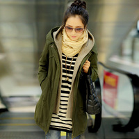 Free shipping Cloth 2013 winter medium-long wadded jacket women's Army Green slim faux two piece cotton-padded jacket outerwear