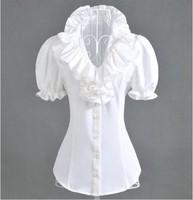 2013 summer multi-layer ruffle bubble short-sleeve shirt