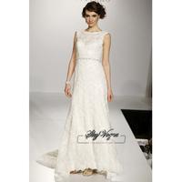 Slim Line Lace Court Train Gorgeous Luxury Unique Brilliant Bridal Wedding Dress New Arrival Free Shipping