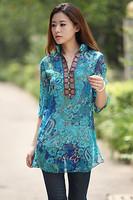 Blue/Red M,L,XL,XXL,XXXL,XXXXL Printed Bohemia Embroidery V-neck Chiffon Shirt Plus Size Lady Dress Fashion Women Dress