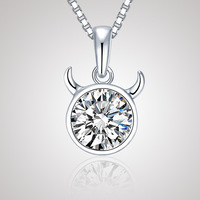CDE 2013 Free Shipping 925 Sterling Silver Jewelry 12 Star Sign Necklace Taurus Pendant YP0294