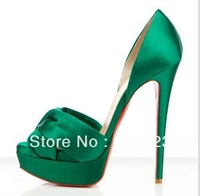 Loubouting heels, women high heel shoes, leather sandals with bow, pump sandals green/purple/cream/black