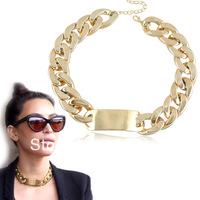 2013 Hot Fashion Golden Aluminum Metal Chunky Link Chain ID Choker Bib Necklace 2pcs/lot Free shipping