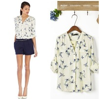 2013 new European style A bird butterfly pattern bronzing printing V-neck chock women shirt