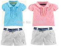 New, retails ,Free Shipping,girls suit,girls short sleeve T shirt+dresses, 1set/lot--JYS53