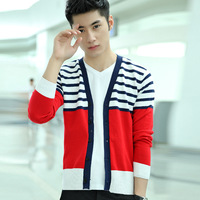 2013 Autumn Bm01p45 spring and autumn man sweater slim men's clothing V-neck stripe sweater outerwear cardigan man  DropShipping