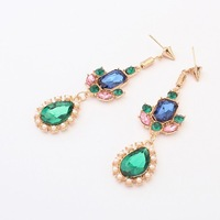 452#Min.order is $10{ mix order }.Europe and the United States jewelry, fashion green crystal earrings.Free shipping