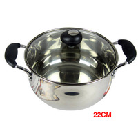 22cm stainless steel double bottom soup pot milk pot skillet can be used on electromagnetic furnace