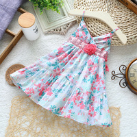 Retail New summer dresses for little girls bowknot princess dress kids slip dress baby print casual dress children clothing