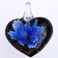 Free shipping!!!Inner Flower Lampwork Pendants,2013 designer brand women, Heart, 38x31x15mm, Hole:Approx 6mm, 10PCs/Bag