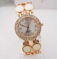 Wholesale Fashion Rose Gold Tone Crystal Rhinestone Watch Women Ladies Quartz Wrist Watch  TW022