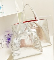 women handbag 2014 new fashion bright silver shopping bag beach bag ladies shoulder bag Free Shipping B028