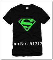 free shipping summer kids t shirt luminous superman logo printed tshirt luminous shirts for children boy t shirt 100% cotton
